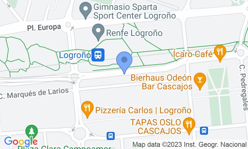 Localización del parking en el mapa - Reservar una plaza en el parking SABA ADIF Estación Logroño Renfe