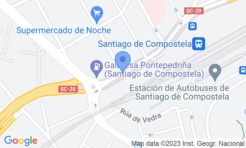 Localización del parking en el mapa - Reservar una plaza en el parking SABA ADIF Estación Santiago de Compostela Renfe