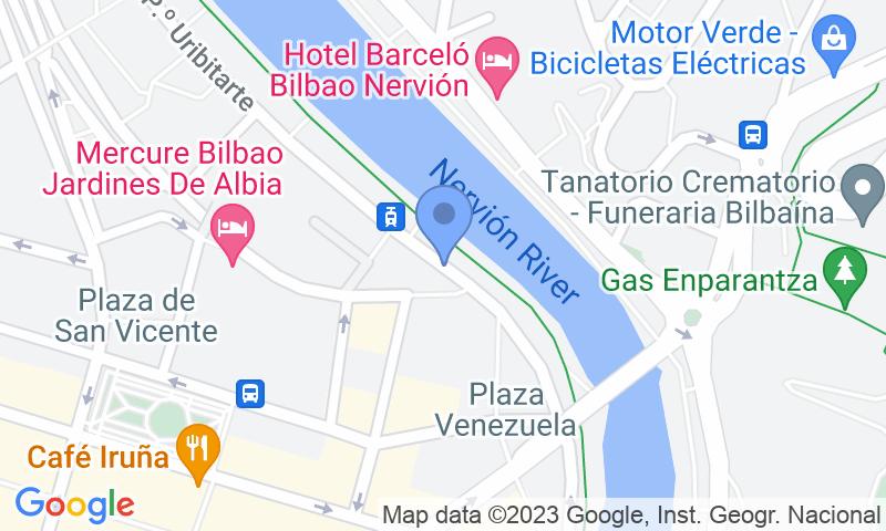 Localización del parking en el mapa - Reservar una plaza en el parking Estación de tren Abando - Pío Baroja