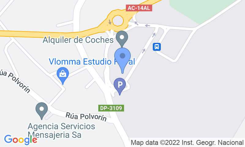 Localización del parking en el mapa - Reservar una plaza en el parking AENA General P1 Coruña