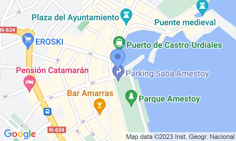 Расположение парковки на карте - Забронируйте паркоместо на стоянке SABA Amestoy - Castro Urdiales