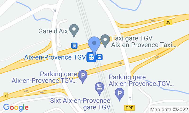 Parking location in the map - Book a parking spot in My Valet services 2.0 Gare TGV AIX car park