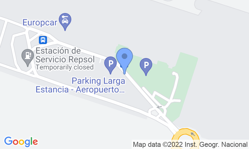 Localización del parking en el mapa - Reservar una plaza en el parking AENA General P1 Asturias