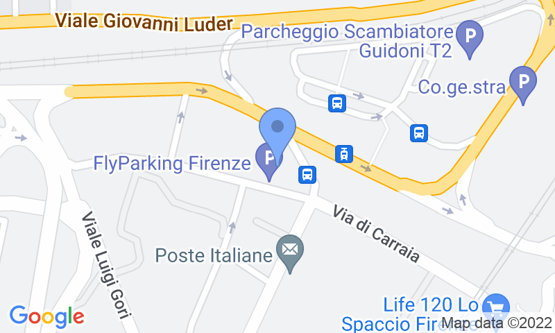 Parking location in the map - Book a parking spot in Fly Parking Firenze-Peretola -Coperto car park