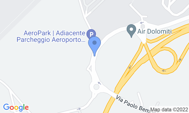 Parking location in the map - Book a parking spot in AeroPark Verona - Coperto car park