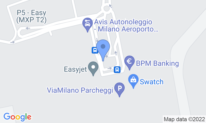 Parking location in the map - Book a parking spot in The Easy Parking Malpensa - VIP Valet - T2 Coperto car park
