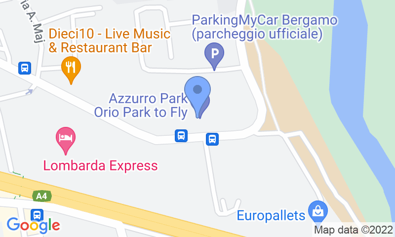 Standort des Parkplatzes auf der Karte - Buch einen Parkplatz im Caravaggio Shuttle Coperto Parkplatz.
